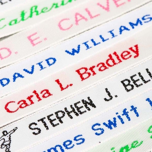 sew on name tags