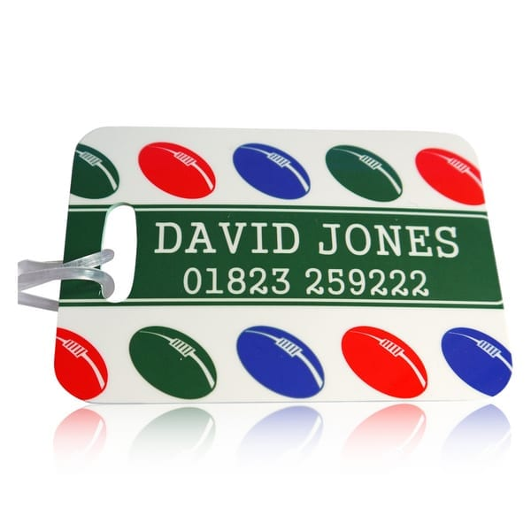 Personalised bag tag rugby balls