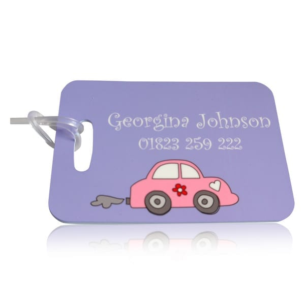 Personalised bag tag pink car