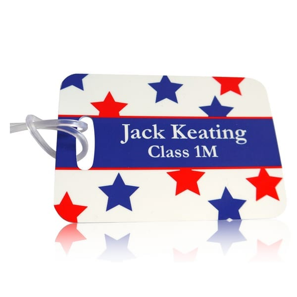 Personalised luggage tag stars design