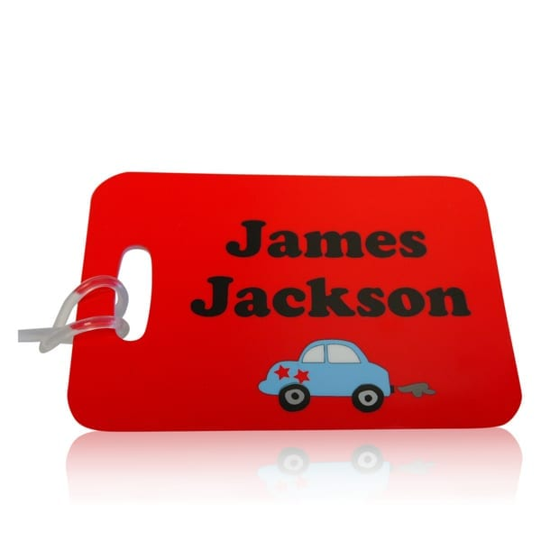 personalised bag tags with blue car