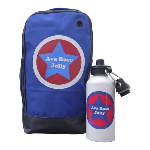 Personalised Boot Bag & Drink Bottle Star Design
