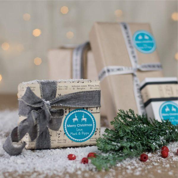 Pesonalised Christmas Gift Sticker Dancing Reindeer