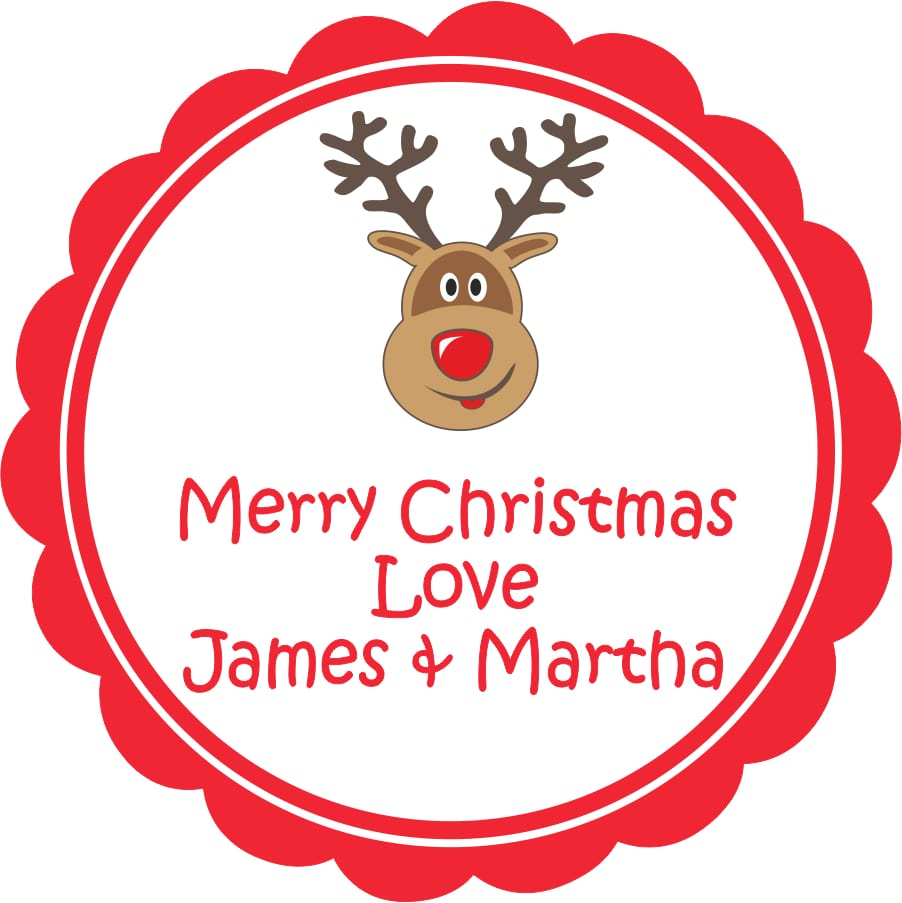 Personalised Christmas Gift Stickers Rudolph Name It