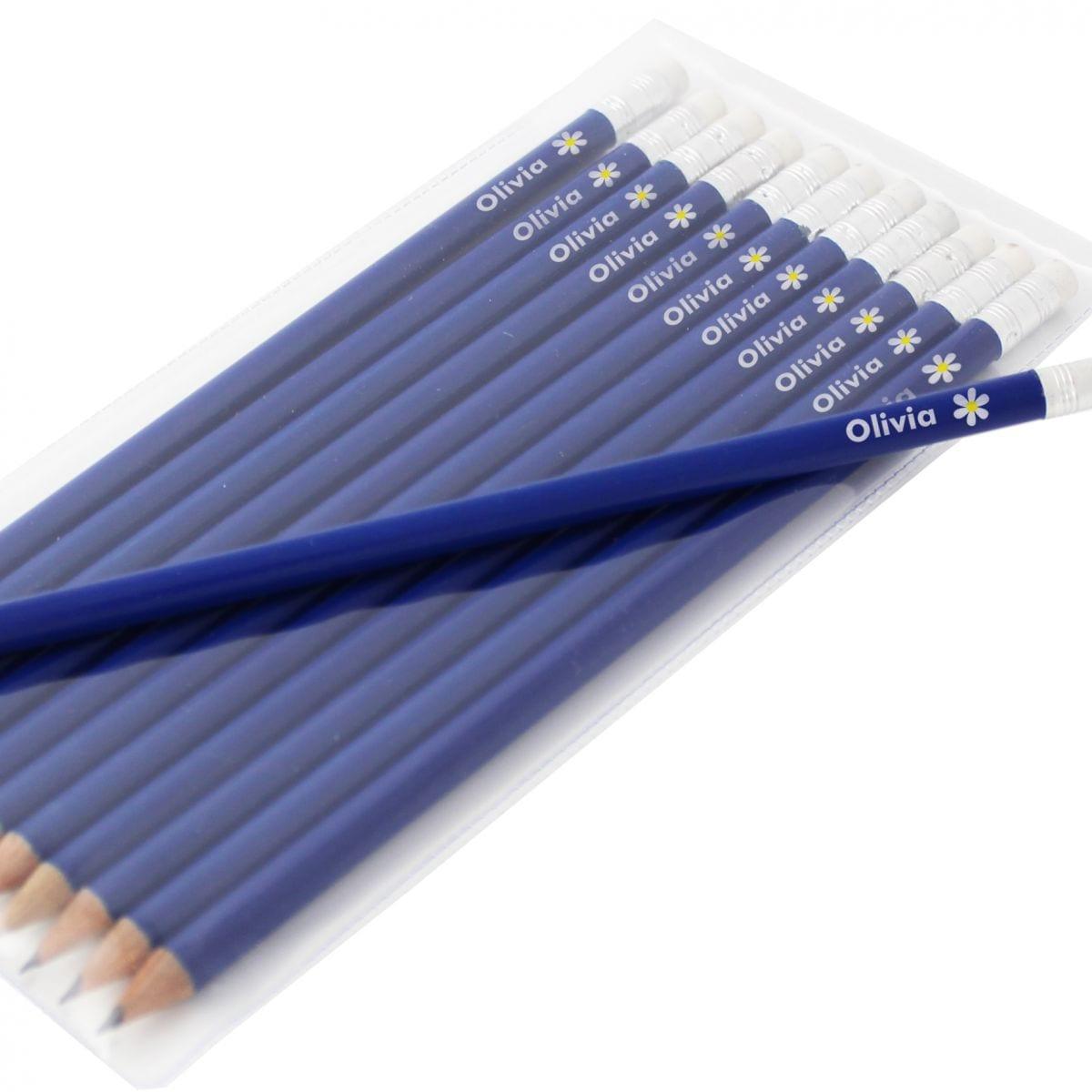 Personalised Pencil Set - Blue Flower