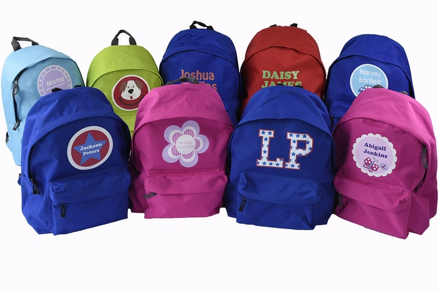 personalised kids back packs