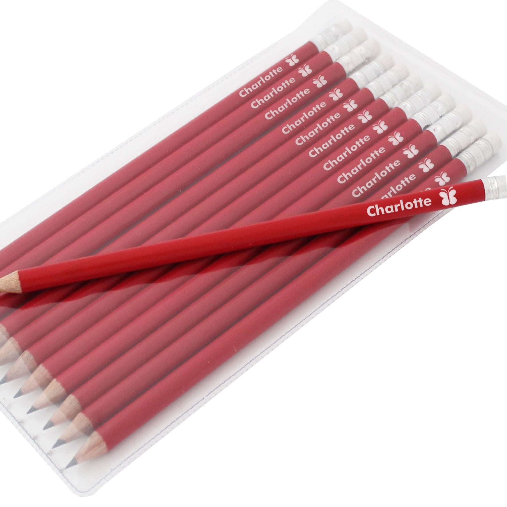 Personalised Pencils - Red Butterfly