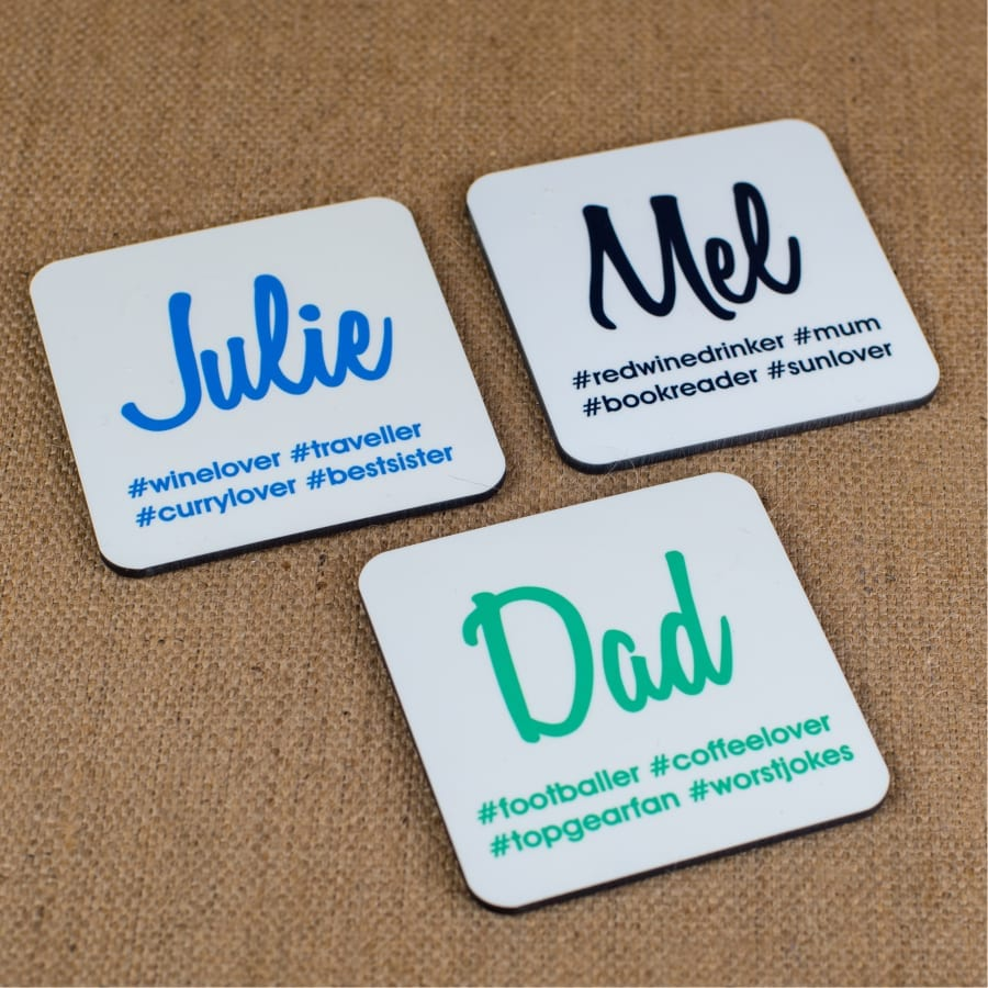 Personalised Hash Tag Coasters
