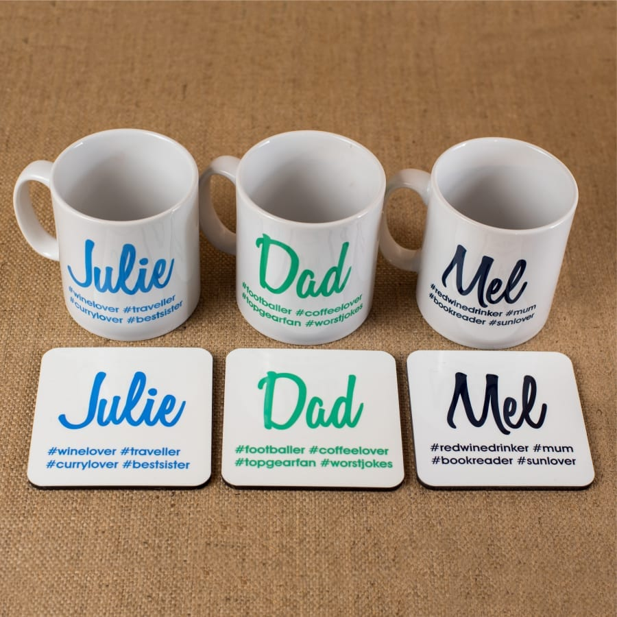 Personalised Hash Tag Coasters and Mugs