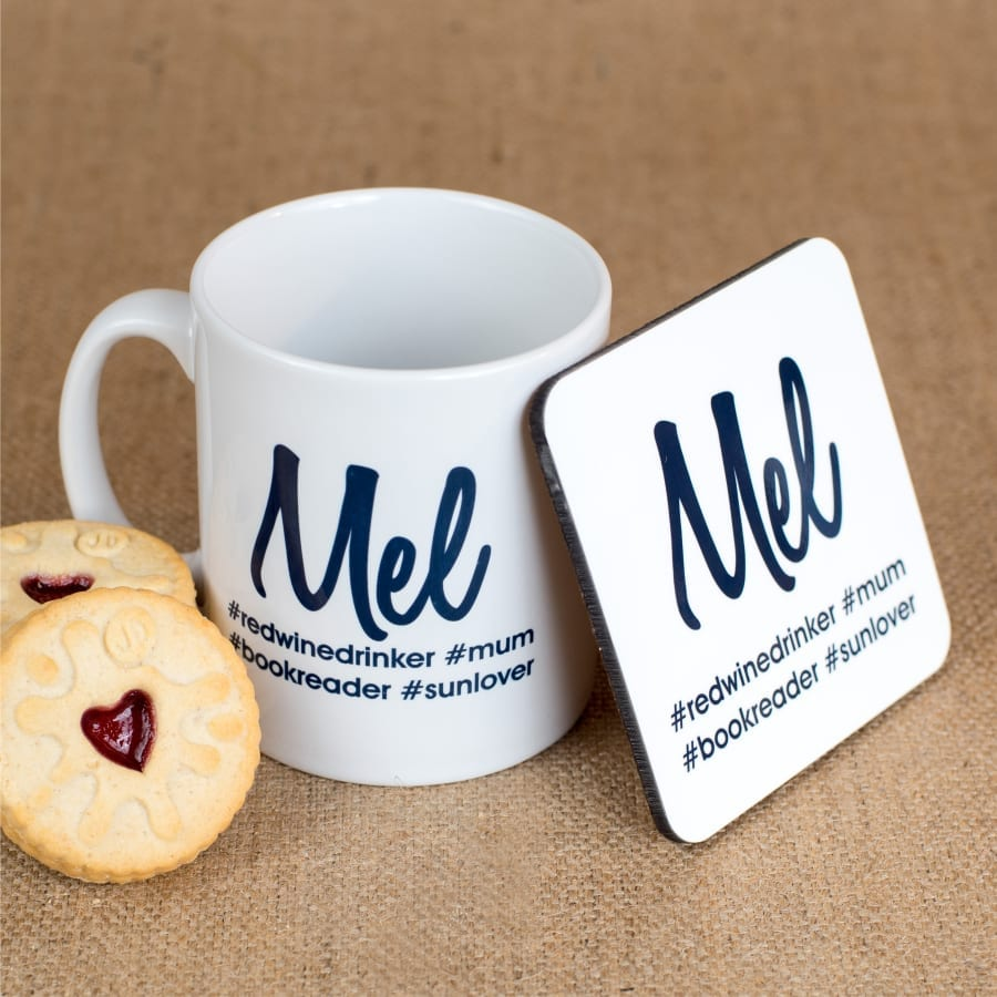 Personalised Hash Tag Coaster and Mug in Black