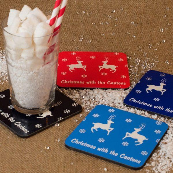 Personalised Christmas Coaster - Reindeer