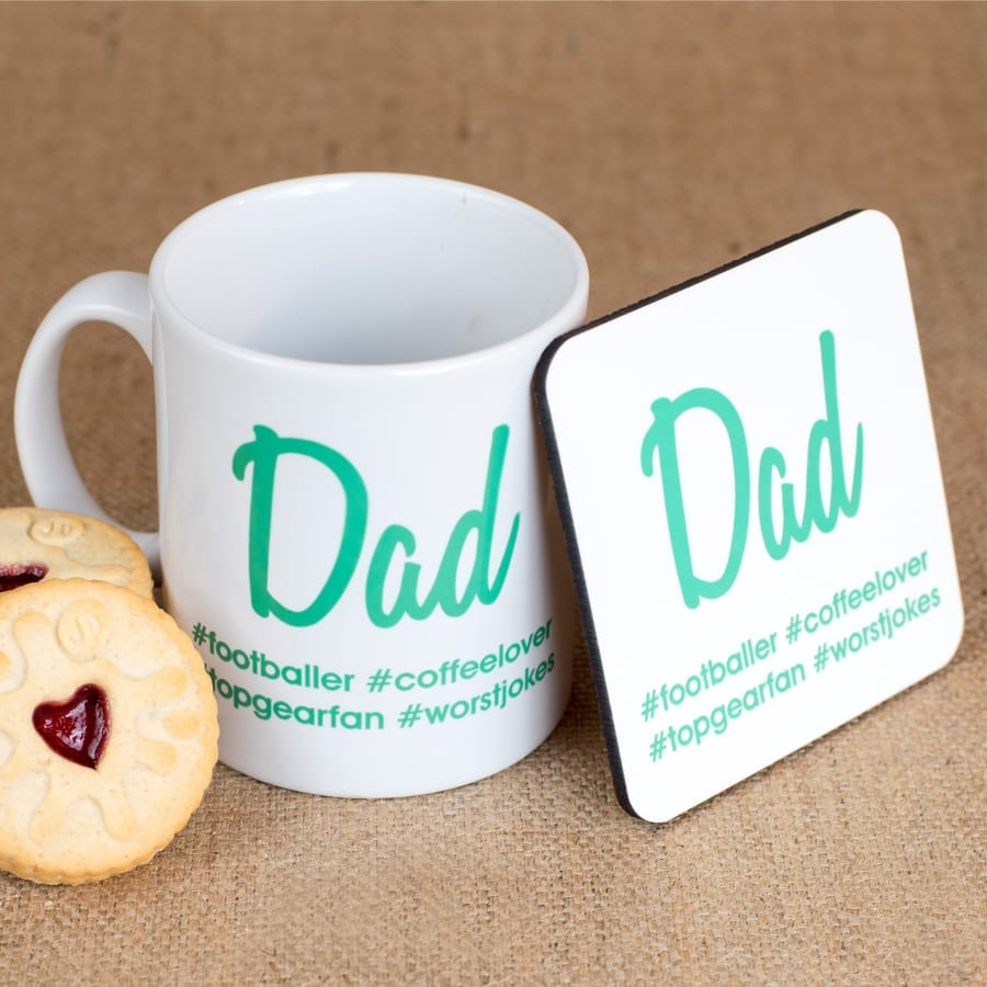 Personalised Hash Tag Coaster & Mug in Green Print