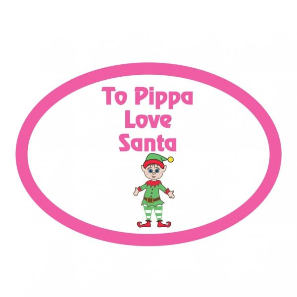 Personalised elf christmas stcker