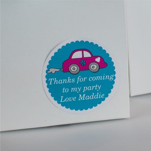 Pink Car Gift Label