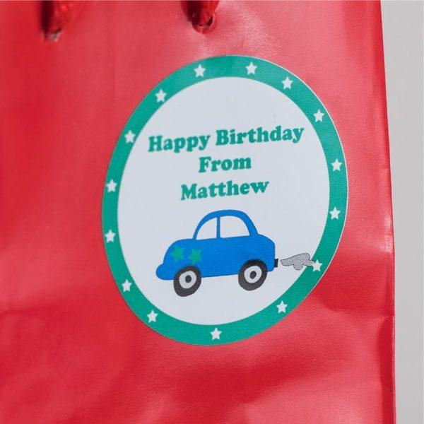 Blue Car Gift Label