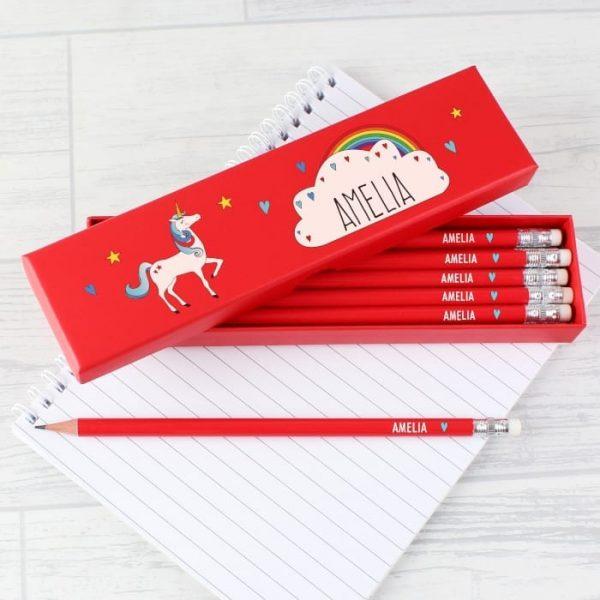 Personalised Boxed Unicorn Pencil Set