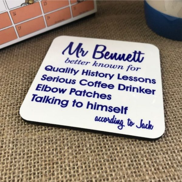 personalised better known for coaster: shown here in navy print