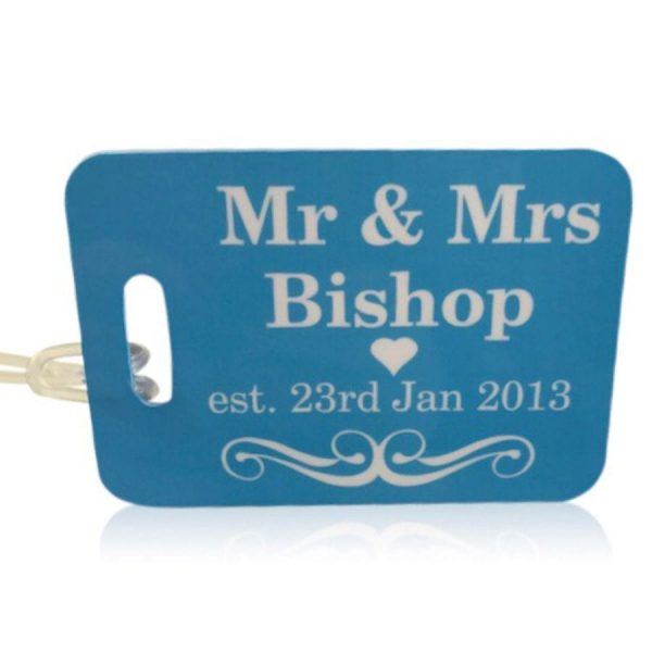 Mrs and mrs luggage tag shown here in