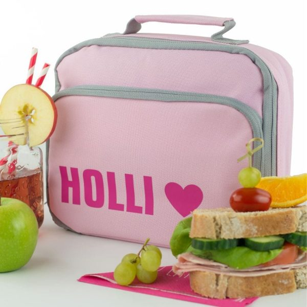 Pink Lunch Bag with Pink Bright and Heart Icon